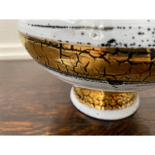 Mid 20th Century Italian Ceramic White Gold and Black Bowl For Sale - Image 4 of 7