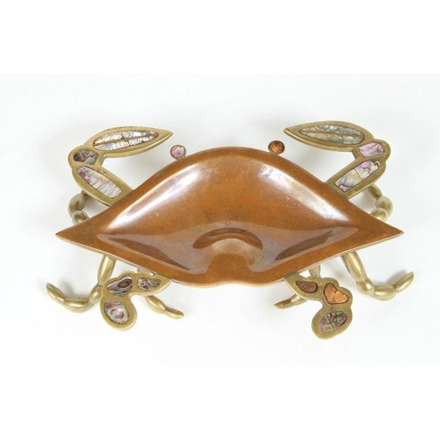 Brass & Abalone Crab & Fish Dishes - A Pair - Image 2 of 7