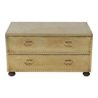 1970s Spanish Sarreid Brass Clad Two-Drawer Cabinet/Coffee Table on Bun Feet For Sale
