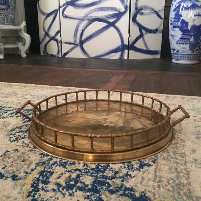 Brass Faux Bamboo Chinoiserie Tray - Image 3 of 9