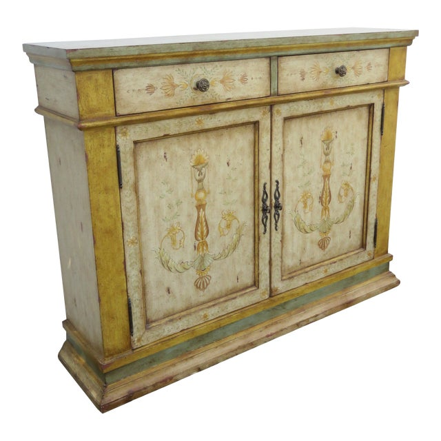 French Shabby Shic Painted Distressed Tall Sideboard Buffet Narrow Console 2154 For Sale
