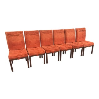 Mid-Century Milo Baughman Dining Parsons Tufted Chairs, Set of 6 For Sale