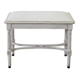Vintage 20th Century Pained Vanity Bench For Sale