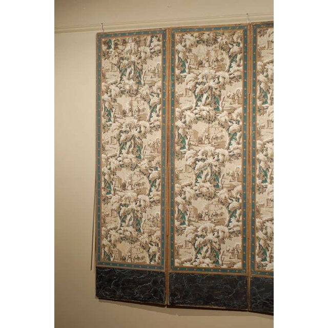 French 19th Century Zuber Style Four-Panel Paper on Canvas Screen For Sale - Image 10 of 11