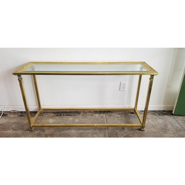 1970s 1970s Vintage Mastercraft Brass Console For Sale - Image 5 of 5