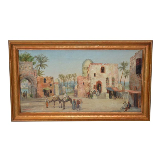 Late 19th to Early 20th Century Middle East Oil Painting For Sale
