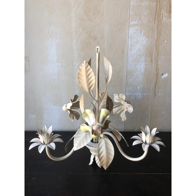 Vintage Italian Tole Chandelier - Yellow and Pink Flowers For Sale - Image 10 of 10