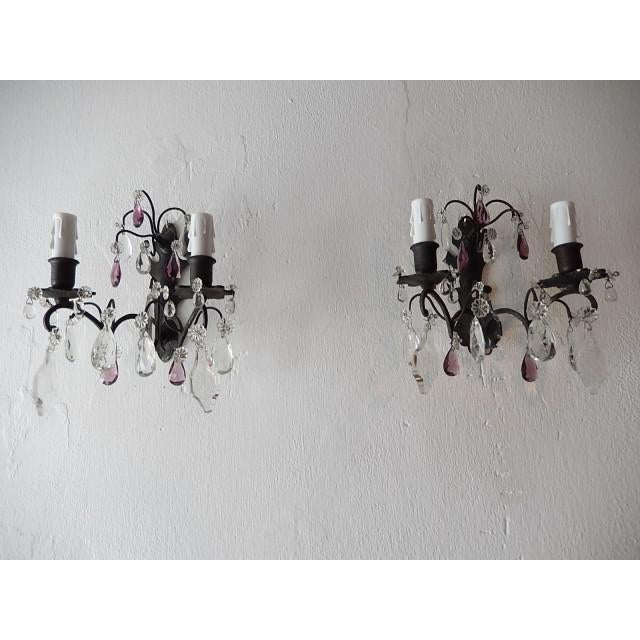French Burnished Brass Amethyst and Clear Crystal Prisms Sconces For Sale - Image 11 of 11