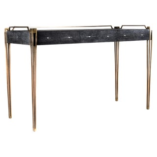 Soho Writing Desk in Black Shagreen and Bronze-Patina Brass by R&y Augousti For Sale