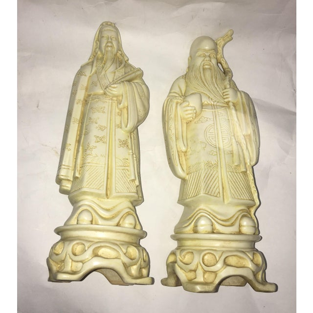 Vintage Chinese Old Scholars Figures - a Pair For Sale - Image 10 of 13