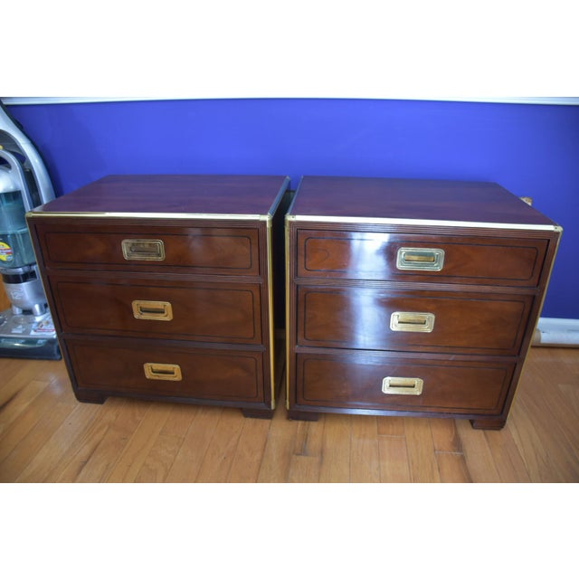 Baker Mid Century Hollywood Regency Walnut & Brass Campaign Bachelors Chests - a Pair - Image 2 of 8