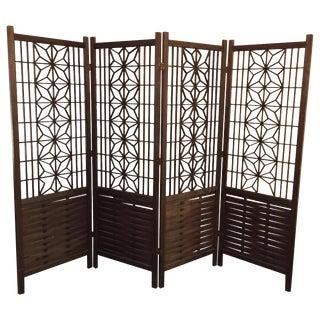 Midcentury Modern Walnut Panels Room Divider For Sale