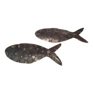 1980s Brutalist Sculptural Fish - a Pair For Sale