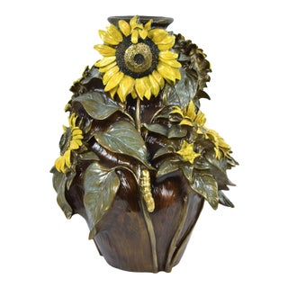 Kristine Poulson Cold Painted Bronze Sunflower Vase W Bee Caterpillar L/E Signed For Sale