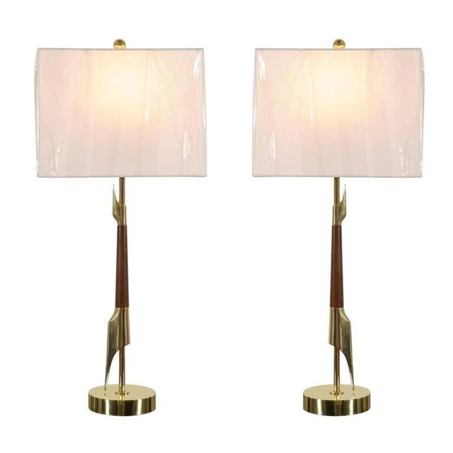 Restored Pair of Elegant Rembrandt Rocket Lamps in Walnut and Brass For Sale - Image 11 of 11