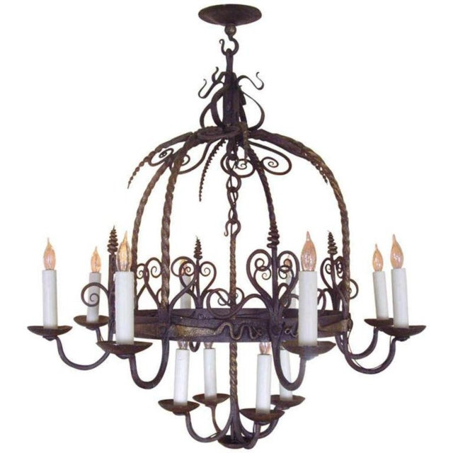 Unusual Provincial Wrought Iron 12-Light Chandelier For Sale - Image 9 of 9