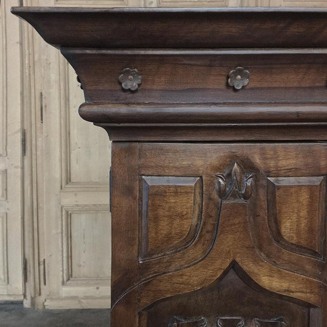 Walnut 19th Century French Gothic Solid Walnut Armoire ~ Bonnetiere For Sale - Image 7 of 13