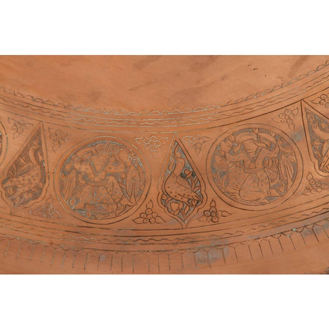 Early 20th Century Large Persian Qajar Copper Tray For Sale - Image 5 of 8