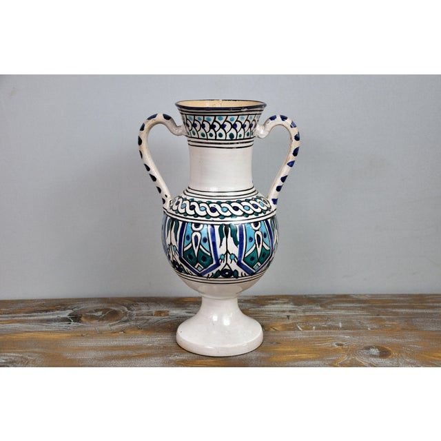 White Handpainted Vintage Italian Blue and White Decorative Vase For Sale - Image 8 of 13