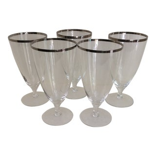 West Germany 1940s Platinum Rim Stemmed Water Glasses - Set of 4 For Sale