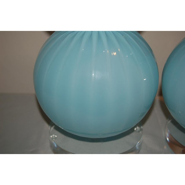 Blue Joe Cariati Glass Ball Table Lamps Blue For Sale - Image 8 of 10