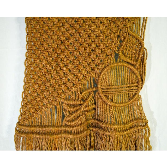 Boho Chic Gold Boho Chic Macrame Wall Hanging For Sale - Image 3 of 4