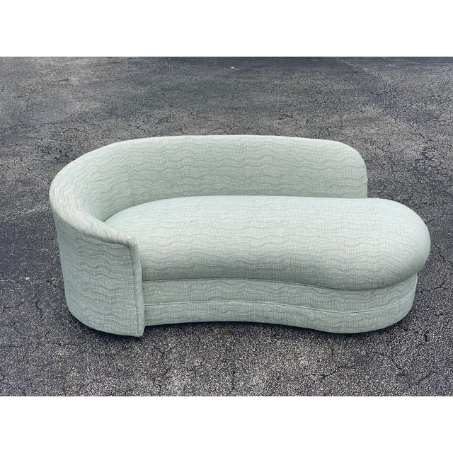 Vladimir Kagan Style Petite Serpentine Cloud Sofa. This is a stunning little chaise lounge sofa in a nice white fabric...