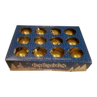 "Mid-Century Box of 12 Gold 1.75"" Christmas Balls For Sale"