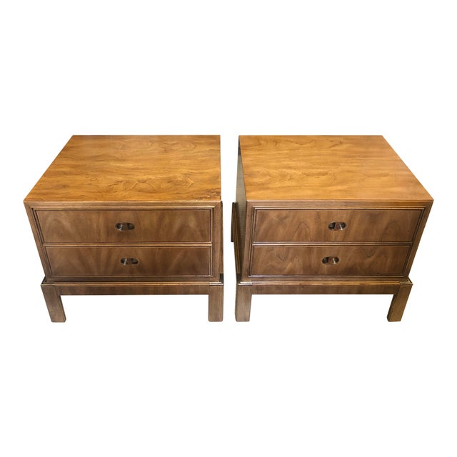 Drexel Drexel Maple & Brass Campaign Nightstands - a Pair For Sale - Image 4 of 12