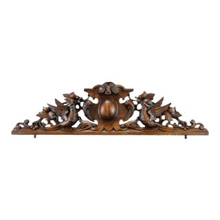 Antique French Hand-Carved Wood Bird Pediment For Sale