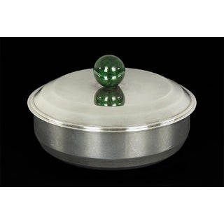 Puiforcat French Art Deco Silver-Plate Bonbonniere Box With Green Enamel Finial Preview