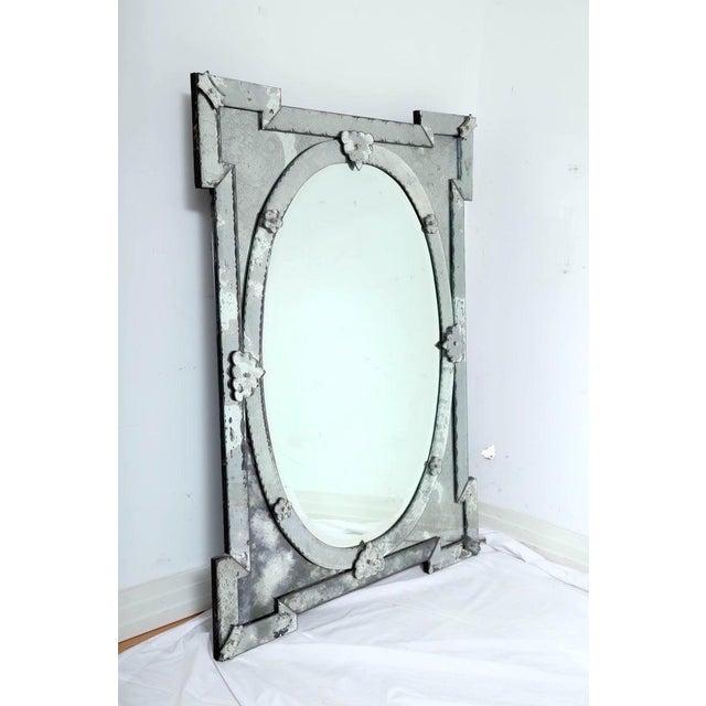 Wood Hollywood Regency Venetian Mirror With Elegant Shield Design, 1940's For Sale - Image 7 of 13