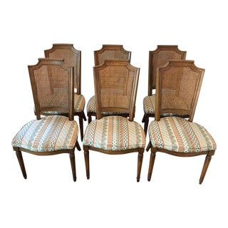 Traditional Walnut, Cane, and Upholstered Dining Chairs by Kindel, Set of 6 For Sale