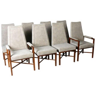 Mid-Century Modern Dunbar Rosewood & Gray Suede Dining Chairs- Set of 8 For Sale