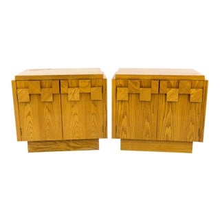 20th Century Brutalist Lane Nightstands - a Pair For Sale