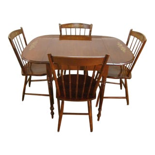 Hitchcock Solid Cherry Dropleaf Dining Table and Four Chairs For Sale