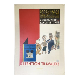 """Signed Joost Swarte French Institute of Architecture Exposition Poster """"Attention Travaux"""" For Sale"""