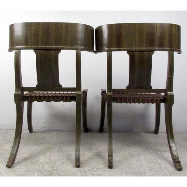 Pair of Mid-Century Snake Skin Klismos Chairs After Robsjohn-Gibbings For Sale In New York - Image 6 of 8