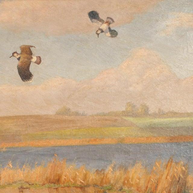 "Original Antique ""Shore Birds in a Marsh"" Landscape Painting Signed C. Hoyrup For Sale - Image 6 of 10"