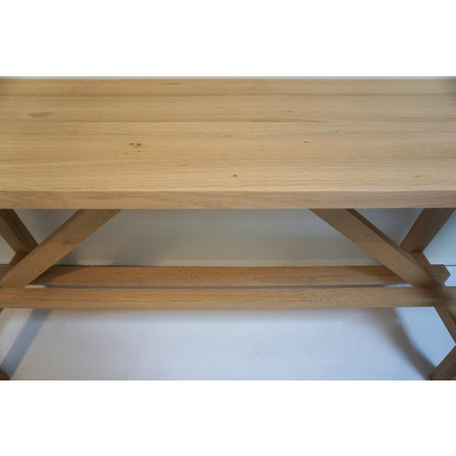 2010s Bohemian Works Natural Wood Extra Long Console Table For Sale - Image 5 of 9