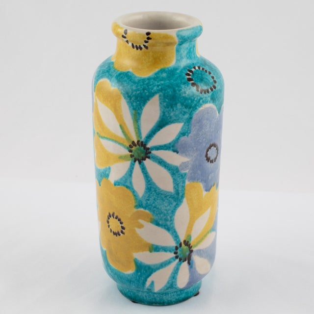 1960s Alvino Bagni for Raymor Aqua Vase With Flowers, Circa 1960s For Sale - Image 5 of 12