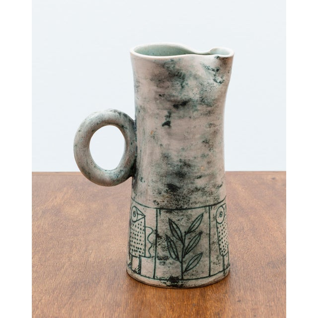 Mid-Century Modern Blue Green Ceramic Pitcher by French Ceramic Artist Jacques Blin, 1950s For Sale - Image 3 of 9