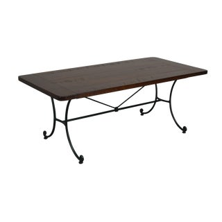 Charleston Forge Cherry Top Iron Base Coffee Table For Sale