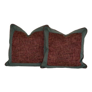 Handmade Teal & Brick Red Pillows - A Pair For Sale