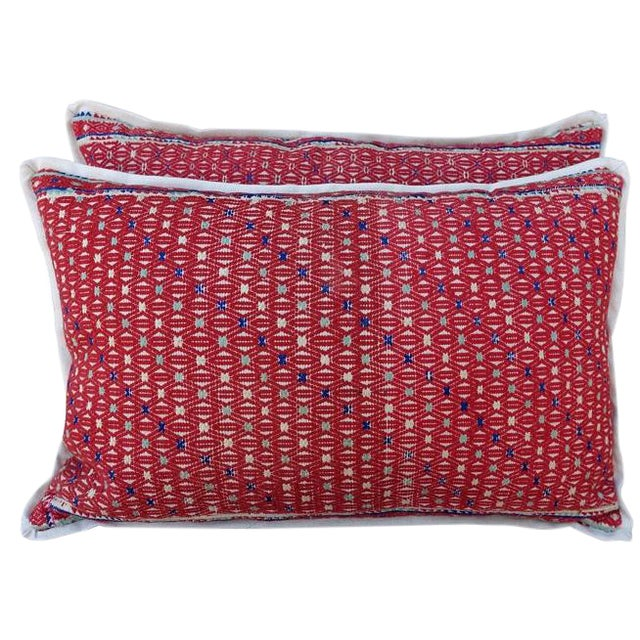 Red Woven Cotton Hmong Pillows - A Pair - Image 1 of 6