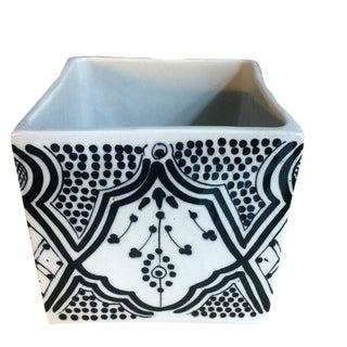 Modern Cubic Black Porcelain Planter For Sale