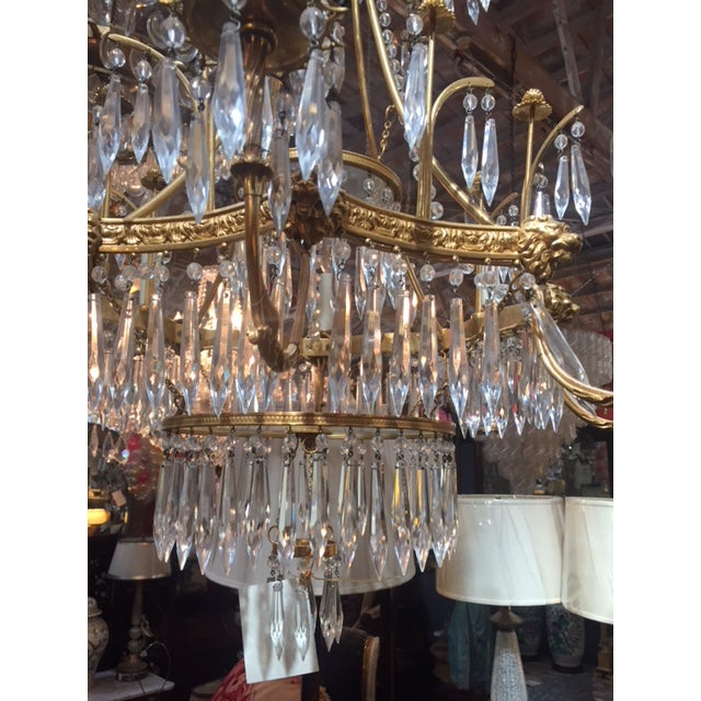 1950s Vintage Neo-Classic Brass Dore Chandalier For Sale - Image 9 of 13