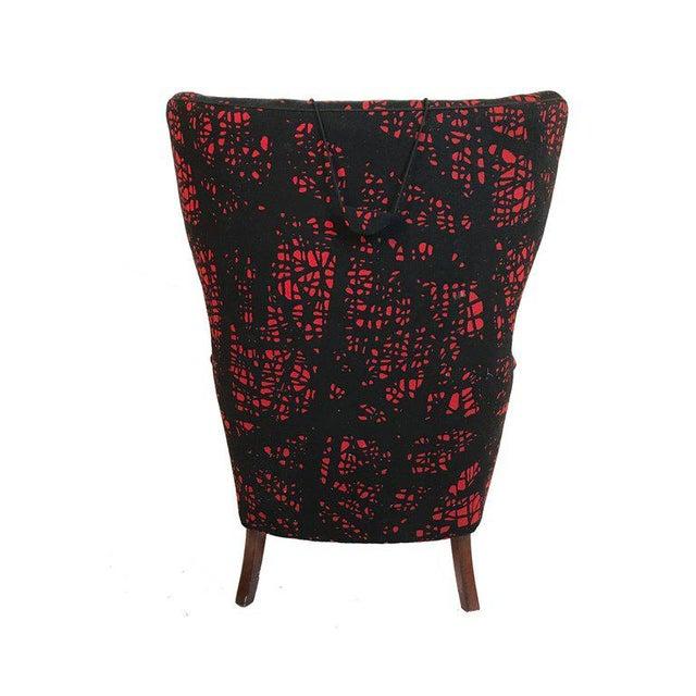 1940s Danish Modern Mogens Lassen-Style Black & Red Wool Easy Chair For Sale - Image 5 of 8