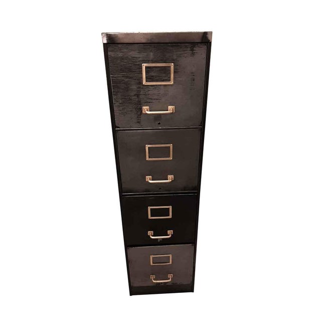Metal Late 20th Century Vintage Steel Filing Cabinet With Brass Handles For Sale - Image 7 of 7
