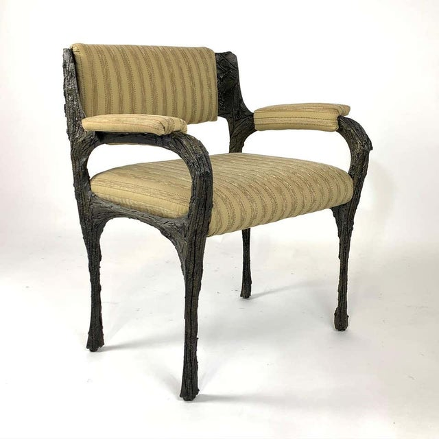 Bronze Paul Evans Midcentury Brutalist Sculpted Bronze Patinated Pe105 Chairs - a Pair For Sale - Image 8 of 13